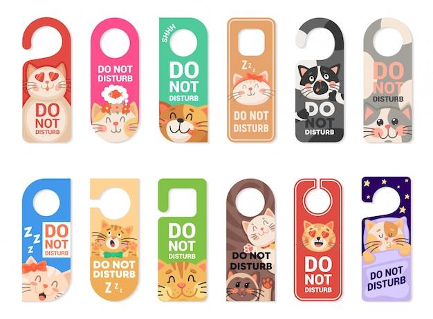 Não perturbe sinais de cabide de porta, etiquetas com gatos