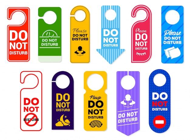 Não perturbe sinais de cabides de porta de quarto de hotel