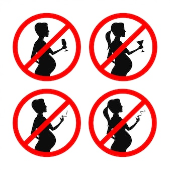 Não se pode fumar e beber durante o conjunto de sinais de gravidez. ilustração em vetor vintage.
