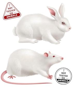 Não testado em animais ícones realistas