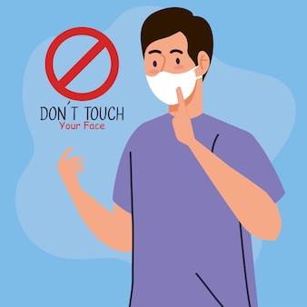 Não toque em seu rosto, cara usando máscara