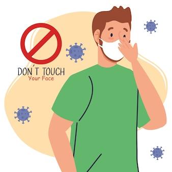 Não toque em seu rosto, homem usando máscara, evite tocar em seu rosto, prevenção contra coronavírus 19