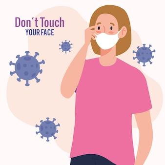 Não toque em seu rosto, mulher usando máscara facial