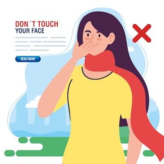 Não toque no rosto, mulher com lenço ao ar livre, evite tocar no rosto, coronavírus covid19 prevenção