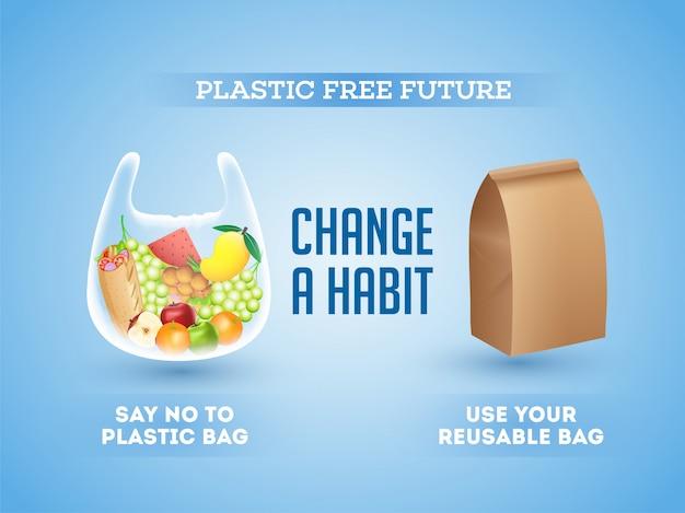 Não usar sacolas plásticas e usar sacolas reutilizáveis (orgânicas)