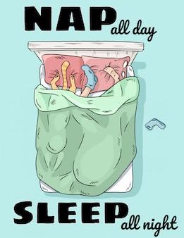 Nap o dia todo o sono a noite toda. pessoa dormindo na cama com o gato.