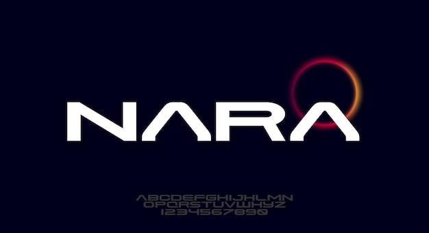 Nara, uma fonte do alfabeto sans serif moderno e negrito.