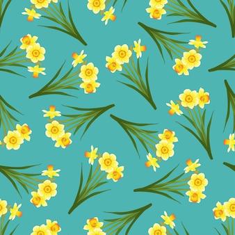 Narciso sem emenda no fundo azul da cerceta.