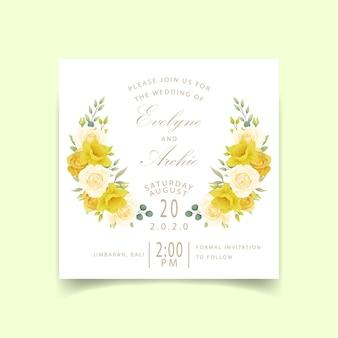Narcisos e rosas florais de convite de casamento