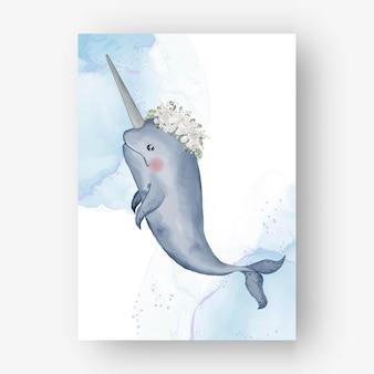 Narval fofo com ilustração em aquarela de flores brancas Vetor Premium