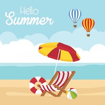 Nas férias de verão, a praia com guarda-sol e cadeira.