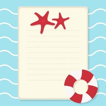 Nas férias de verão, fundo de verão. cartão de saudação e papel de carta com copyspace