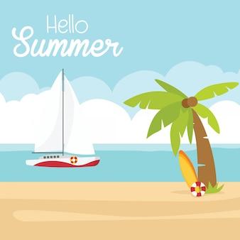 Nas férias de verão, fundo do verão - praia do por do sol. mar, iate e uma palmeira.