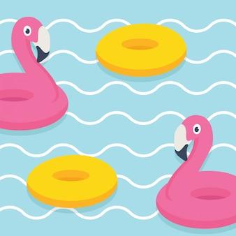 Nas férias de verão, olá! ilustração de banner de verão, flamingo