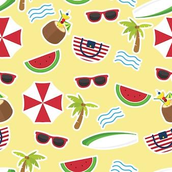 Nas férias de verão, padrão de verão sem costura colorida com elementos de praia mão desenhada