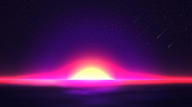 Nascer do sol colorido e brilhante no oceano aberto. paisagem com um céu estrelado colorido e os raios do sol