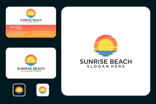 Nascer do sol com design de logotipo de praia e cartão de visita