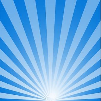 Nascer do sol com sunburst sobre fundo azul.