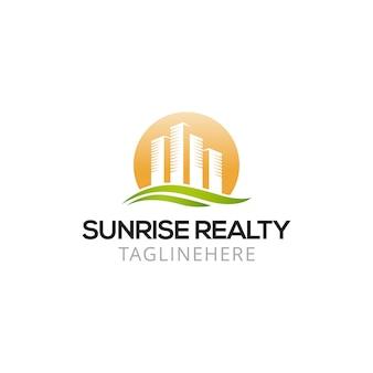 Nascer do sol imobiliário design de logotipo