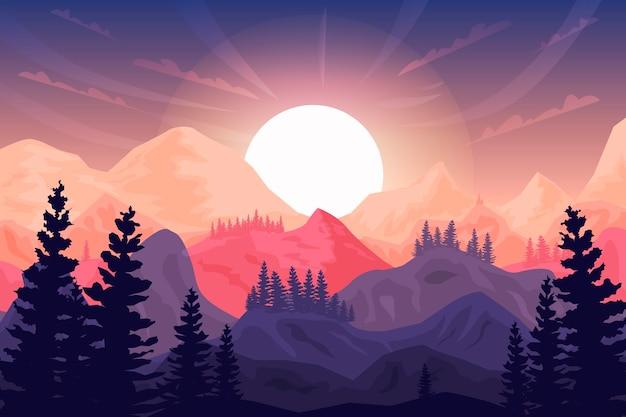 Nascer do sol, montanhas e árvores ao fundo
