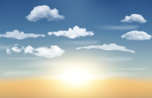 Nascer do sol realista com céu azul e nuvens