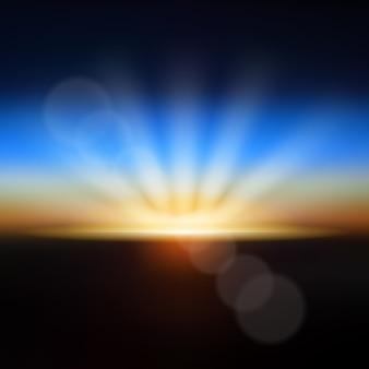 Nascer do sol terra turva efeito de luz