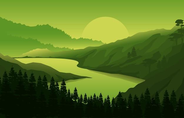 Nascer pôr sol montanha floresta natureza selvagem paisagem ilustração monocromática
