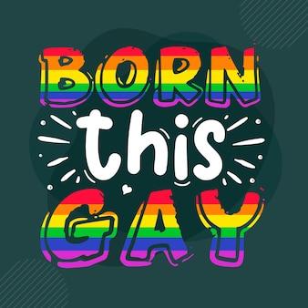 Nasceu este design de vetor de letras premium gay pride