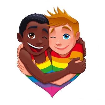 Nascido personagem desta forma engraçada do vetor casal gay isolado