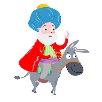 Nasreddin hodja e sua ilustração vetorial dankey