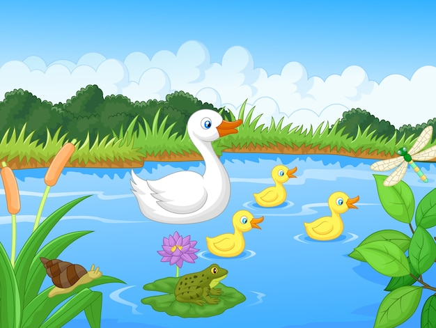 Natação de desenhos animados de família de pato