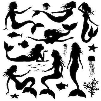 Natação subaquática silhuetas de vetor preto sereia