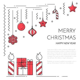 Natal, ano novo banner horizontal com velas, presentes, decorações.