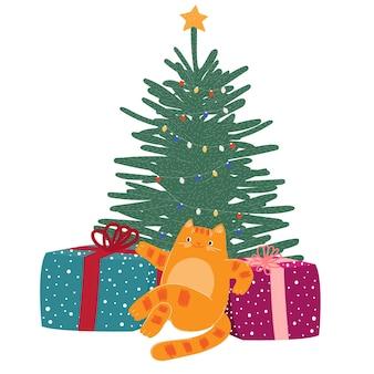 Natal, ano novo, bonito, desenho animado, gato, com, presentes, desenho, mão, animal, inverno, dezembro, feriado