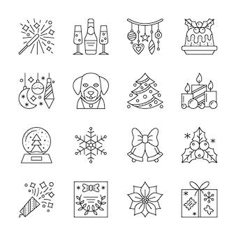 Natal, ano novo conjunto de ícones de linha, símbolo linear de férias de inverno, sinal de contorno, curso editável.