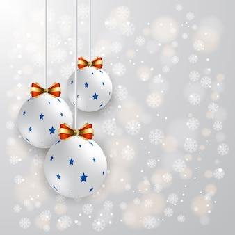Natal, ano novo, fundo moderno, festivo, bola de vidro, exames de inverno