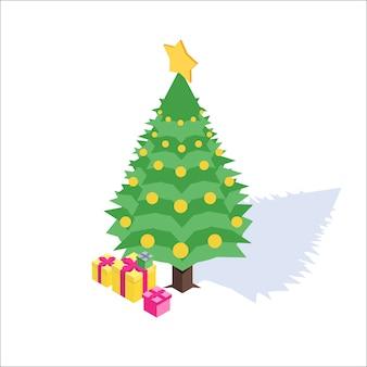 Natal, ano novo ícone isométrico. ilustração