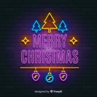 Natal, árvore, néon, sinal