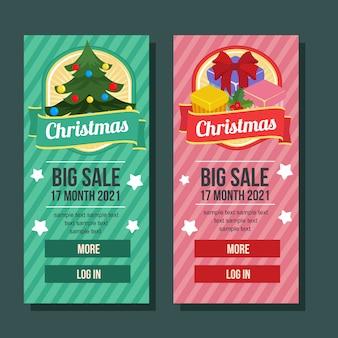 Natal banner vertical presente caixa pinheiro