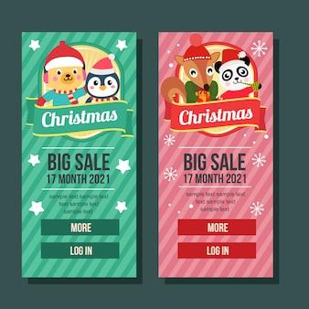 Natal banner vertical presente pinguim esquilo cachorro panda