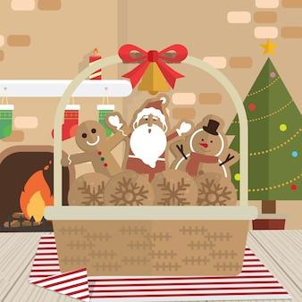 Natal, biscoito papai noel, lareira, sala