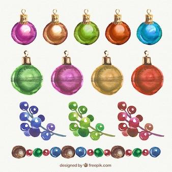 Natal bolas coloridas em estilo aquarela
