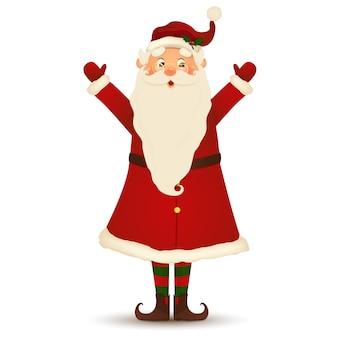 Natal bonito, alegre, engraçado papai noel com óculos, agitando as mãos e saudação isolado no fundo branco.
