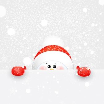Natal bonito, bebê, engraçado boneco de neve com cachecol e chapéu de papai noel vermelho com flocos de neve caindo e sinal.