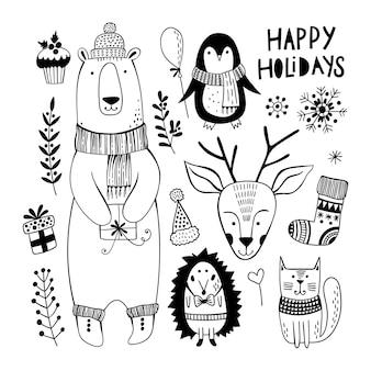Natal bonito conjunto com animais