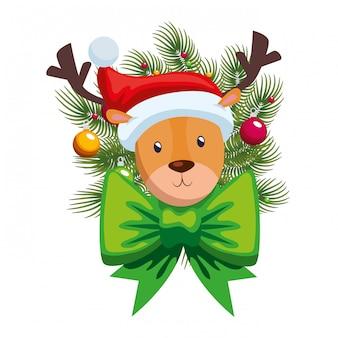 Natal bonito da rena com coroa e bolas