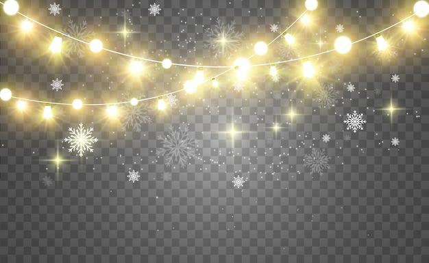 Natal brilhante, belas luzes, elementos de design. luzes brilhantes para design de cartões de natal. guirlandas, decorações leves.