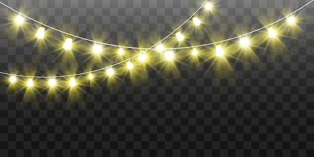 Natal brilhante, belas luzes, elementos. luzes brilhantes para design de cartões de natal. guirlandas, decorações leves de natal.