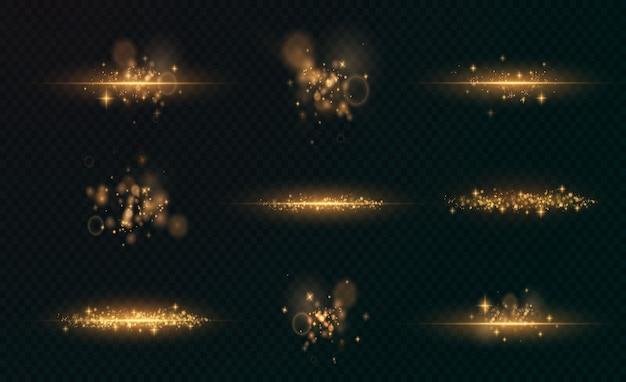 Natal brilhante luz ouro bokeh confete e textura de ouro de sobreposição de faísca para seu projeto