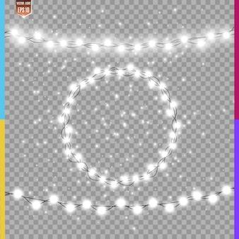 Natal brilhantes, belas luzes, elementos de design. luzes brilhantes para o design de cartões de natal. guirlandas, decorações de natal de luz.